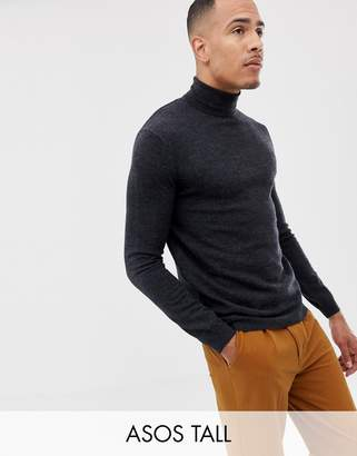 3d2c632c1a9b Asos Design DESIGN Tall merino wool roll neck sweater in charcoal