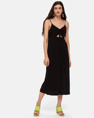 Topshop Ruch Front Midi Slip Dress