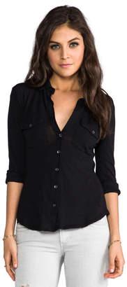 James Perse Slub 3/4 Sleeve Button Front Shirt