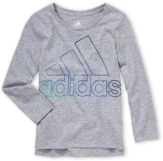 adidas Girls 4-6x) Grey Logo Long Sleeve Tee
