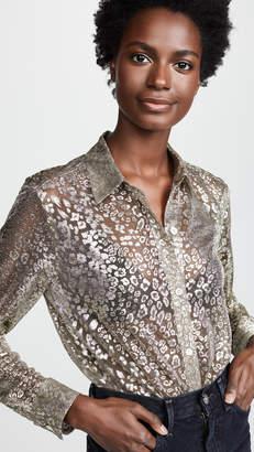 Equipment Metallic Leopard Lace Essential Button Down Shirt