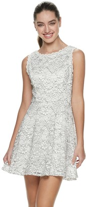 6f75ca2fe61 Juniors  Lily Rose Sleeveless Lace Fit   Flare Dress