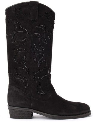Via Roma 15 Boot In Black Nubuck With Embroidery