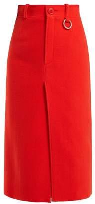 Slit Hem Wool Blend Pencil Skirt - Womens - Red