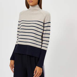 Whistles Women's Stripe Funnel Neck Wool Knitted Jumper