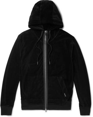 Tom Ford Grosgrain-Trimmed Cotton-Blend Velour Zip-Up Hoodie - Men - Black
