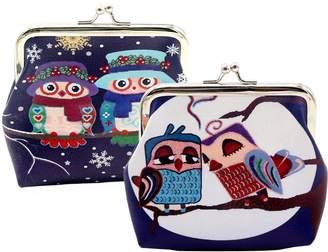 Oyachic 2 Pack Coin Pouch Cute Owl Pattern Purse Clasp Closure Clutch Wallet Bag