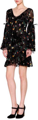 EtroEtro Bell-Sleeve V-Neck Floral-Print Dress, Black/Multi