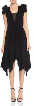 Halston Ruffled Handkerchief Hem Midi Dress
