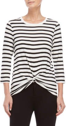 Alison Andrews Striped Knotted Quarter Sleeve Tee