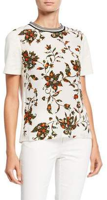 Tory Burch Floral Short-Sleeve Cotton T-Shirt