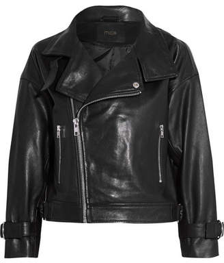 Maje Cropped Leather Biker Jacket - Black