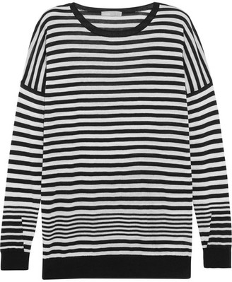 Vince - Striped Cotton, Silk And Cashmere-blend Sweater - Black $245 thestylecure.com
