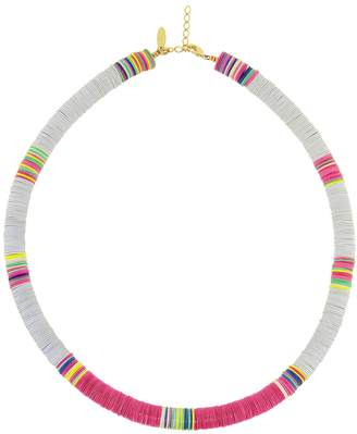 ALLTHEMUST Large Grey and Hot Pink Heishi Bead Necklace - Yellow Gold