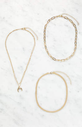 La Hearts 3 Pack Horn Layered Chain Necklace