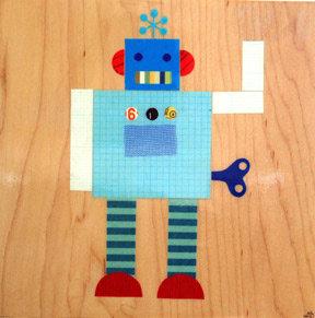 Petit Collage Blue Robot #4