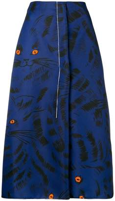 Marni printed A-line skirt