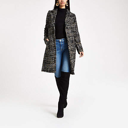 Womens Black boucle single breasted coat