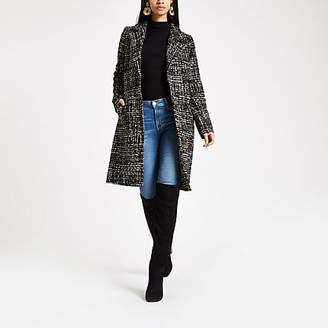 River Island Black boucle single breasted coat