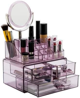Sorbus Makeup Storage Organizer with Magnifying Mirror - Purple