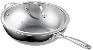 "Cooks Standard 12"" Multi-Ply Clad Stainless Steel Wok Stir Fry Pan with Glass Lid, 30cm"