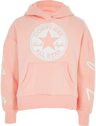 River Island Girls Converse pink cropped hoodie