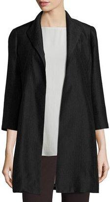 Eileen Fisher High-Collar Silk Ravine Coat $398 thestylecure.com