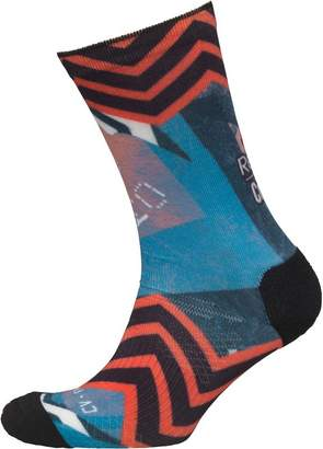 Reebok Womens CrossFit Printed CoolMax Crew Socks Awesome Blue/Fire Coral