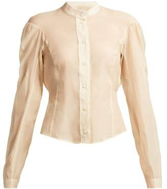 Lemaire Cotton And Silk Blend Panelled Blouse - Womens - Nude