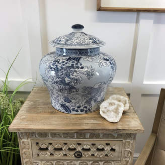 Cowshed Interiors Large Chinese Carp Lidded Blue And White Ginger Jar