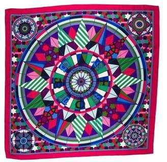 Hermes Rose De Compas Cashmere Silk Shawl