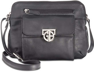 Giani Bernini Hardware Double-Zip Nappa Leather Crossbody