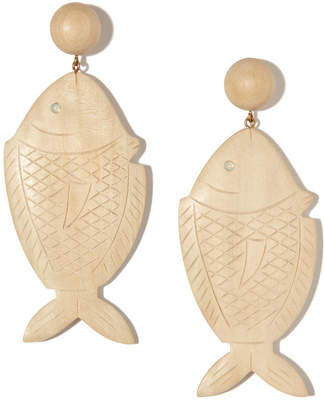 Rebecca De Ravenel Caspia Opal Wood Earrings