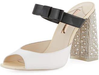 Sophia Webster Andie Embellished Two-Tone Leather Mule Sandal