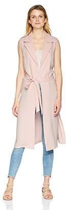 Nine West Women's Sleeveless Crepe Duster with TIE Detail