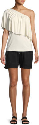 Three Dots Drawstring-Waist Cotton Gauze Shorts
