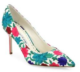 Manolo Blahnik BB Floral-Embroidered Pumps $765 thestylecure.com