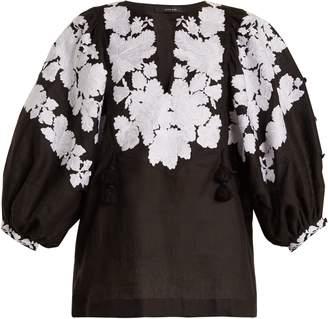 VITA KIN Summer Garden embroidered mid-weight linen blouse