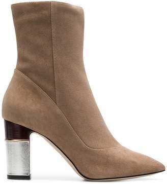 Pollini metallic heel boots