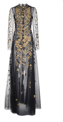 Oscar de la Renta High Neck Full Sleeve Embroidered Gown