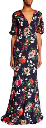 Lela Rose Floral-Print V-Neck Gown