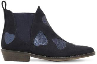 Stella McCartney Glitter Hearts Faux Suede Ankle Boots