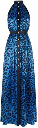 Balmain Satin Leopard Print Maxi Dress