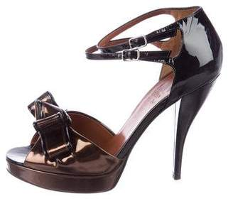 Lanvin Bow Accented Patent Leather Sandals