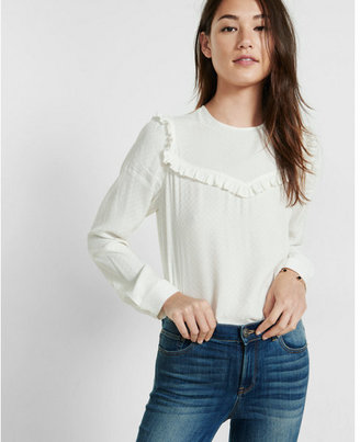 Express printed ruffle yoke long sleeve blouse $49.90 thestylecure.com