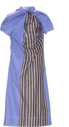 Marni Striped Gathered Poplin Dress