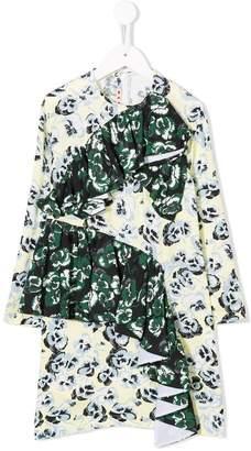 Marni contrast ruffle floral dress