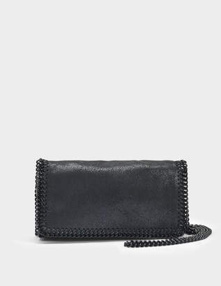 Stella McCartney Shaggy Deer Black Chain Falabella Clutch Bag in Black Eco Leather