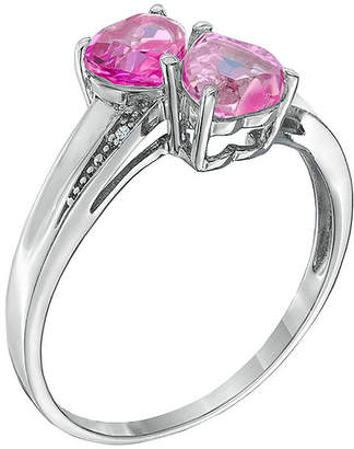 FINE JEWELRY Lab-Created Pink Sapphire and Diamond-Accent Sterling Silver Double-Heart Ring