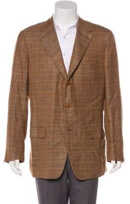 Kiton Plaid Cashmere & Linen-Blend Blazer